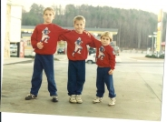 Paul, David and Kevin in the sweatshirts that I made